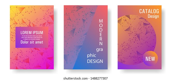 Vector cover layout design. Global network connection geometric grid. Interlinked nodes, atom, web or big data cloud structure concept. Information technology concept cover.