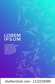 Vector cover page layout. Global network connection of points and lines. Interlinked nodes, molecular or  big data cloud structure concept. Information technology concept cover.