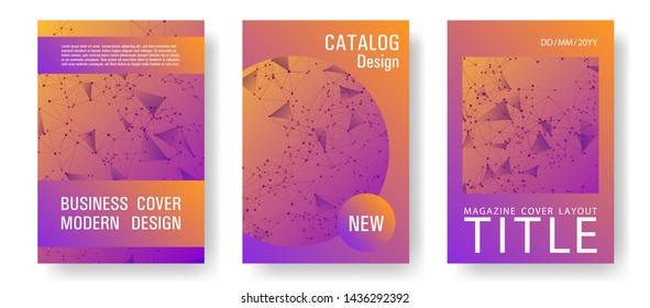 Vector cover page layout. Global network connection polygonal grid. Interlinked nodes, neuron or big data cloud structure concept. Network nodes information technology cover.