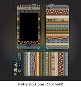 Vector cover phone abstract ethnic background