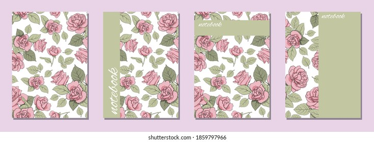 Vector cover template. Flower style cover design with roses for girls. Suitable for books, notebooks, catalogs, booklets, diaries, brochures, etc.