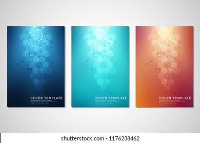 Vector covers or brochure for medicine, science and digital technology. Geometric abstract background with hexagons pattern. Molecular structure and chemical compounds