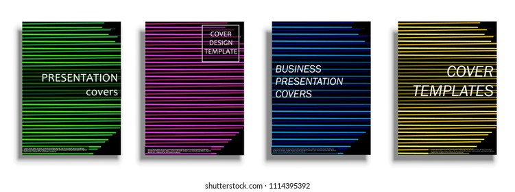 Vector covers collection, business covers vector set. Bright covers illustration isolated over white background. Geometric patterns for business presentations, 3D covers
