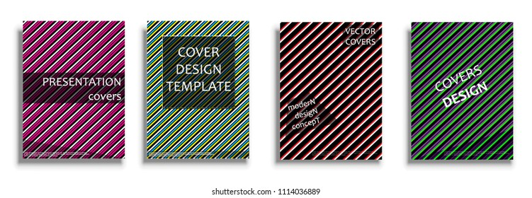 Vector covers collection, design templates. Bright covers illustration isolated over white background. Geometric patterns for business presentations, 3D covers