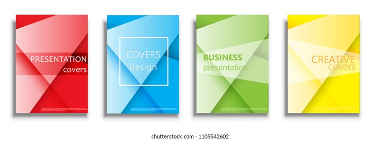 Vector covers design collection, covers design set. Covers illustration isolated over white background. Geometric patterns for business presentations, 3D covers