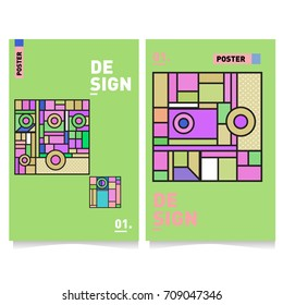 Vector covers design set with retro style. Cool geometric memphis style poster template. Summer and autumn design template.