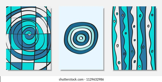 Vector Covers Set in Hand Drawn Style. Blue Abstract Backgrounds with Handwritten Wavy Lines and Shapes, Spirals, Dots. Creative Hipster Illustration. Scribble. Vector Abstractions for Wallpapers.