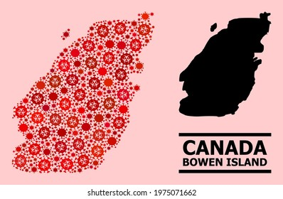 Vector covid-2019 mosaic map of Bowen Island combined for vaccination purposes. Red mosaic map of Bowen Island is designed of biological hazard covid-2019 infection icons.