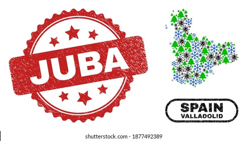 Vector Covid-2019 New Year mosaic Valladolid Province map and Juba scratched seal. Juba seal uses rosette shape and red color. Mosaic Valladolid Province map is made from scattered covid, frost,