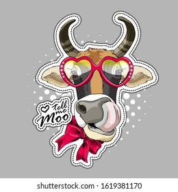 Vector cow with bow and glasses. Tongue out. Print on T-shirts, bags and other fashion products. Design children's clothing and accessories. Applique, patch.