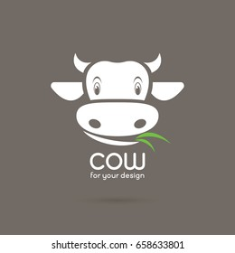 Vector of a cow face with grass on brown background. Farm Animals.
