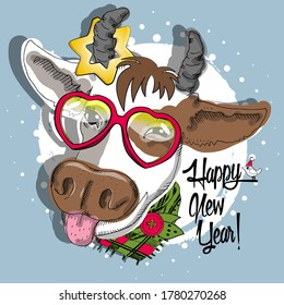 Vector cow with glasses. Happy New Year!