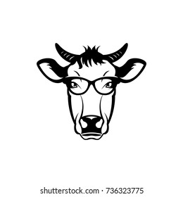 Vector cow head, face  for retro hipster logos, emblems, badges, labels template and t-shirt vintage design element. Isolated on white background