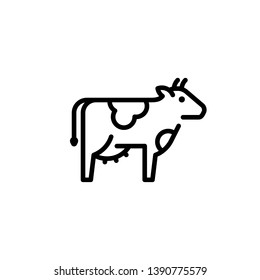 Vector cow icon template. Organic natural food logo for diary eco products, farmers market. Line farm cattle symbol illustration