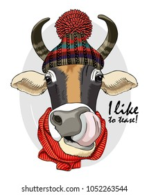 Vector cow with knitted hat and red scarf. Hand drawn illustration of dressed cow.