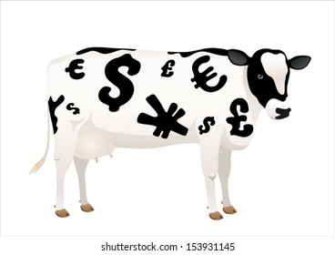 Vector cow with money signs on white background