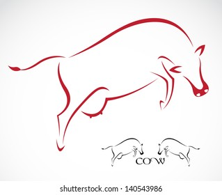 Vector of a cow on white background. Farm Animals,