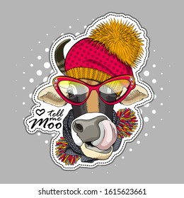 Vector cow with scarf, hats and hat. Print on T-shirts, bags and other fashion products. Design children's clothing and accessories. Applique, patch.
