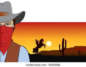 Vector cowboy. BAd guy