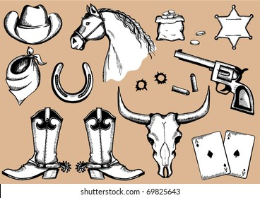 Vector cowboy elements for design.