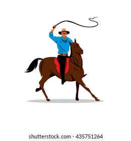 Vector Cowboy and Horse Cartoon Illustration. Horse Rider waving his whip. Branding Identity Corporate unusual Logo isolated on a white background