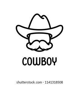 Vector cowboy icon with hat and large moustache