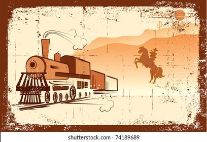 Vector cowboy and locomotive. Western bandit life.Grunge
