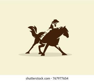 Vector of Cowboy riding wild horse