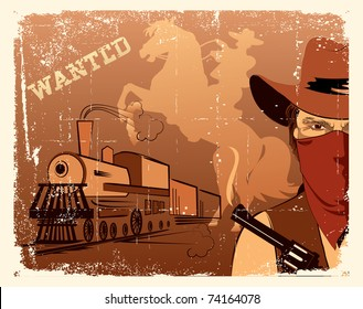 Vector cowboy and train. Western grunge poster