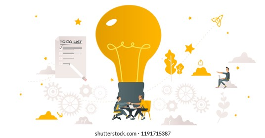 Vector coworking, teambuilding and business communication concept with colleagues, male office workers, men sitting at table discussing, brainstorming with gears, huge light bulb , to do list