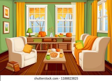 Vector cozy autumn living room interior.