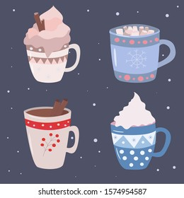 Vector cozy and cute winter drinks set, mulled wine with cinnamon sticks, eggnog, hot chocolate with marshmallow, coffee with cream