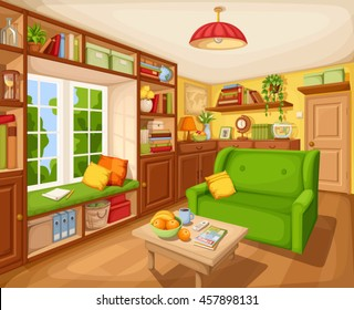 Vector cozy living room interior with bookcase, sofa and table.