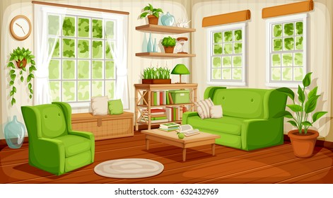 Vector Cozy Living Room Interior With Big Windows, Sofa, Armchair And  Houseplants.