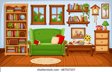 Vector cozy living room interior with a sofa and a bookcase.
