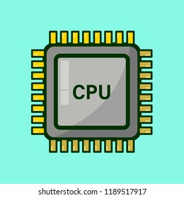 Vector CPU central processing unit on turquoise colour background Metal Central processor with shadows and light reflection CPU inscription on main computer module PC Personal Computer High technology