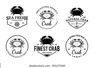 Vector crab design elements, label and icons.