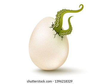 Vector cracked egg with aliens tentacles. Vector 3D illustration of a egg with mutant green tentacles. GMO product