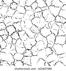 vector cracked texture of wall or earth, black and white background illustration with abstract cracks