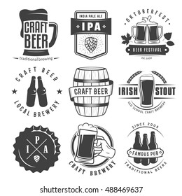 Vector craft beer badges and logos. Set of retro beer labels.