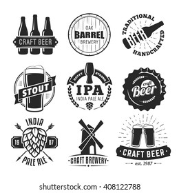 Vector craft beer badges. Vintage labels and emblems.