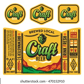 Vector craft beer label design.