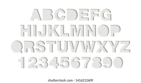 Vector craft paper cut white shapes font. Paper art style alphabet and numbers, typography ABC letters design. 3d characters isolated, origami typeface for logo. Neomorphism style
