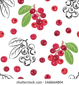 Vector cranberries. Seamless pattern with red berries and black-white outline on white background. Illustration in cartoon flat style.