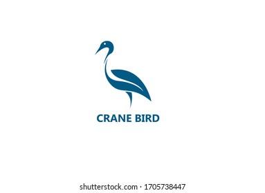 vector crane bird Logo Isolated On white Background