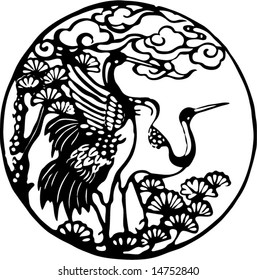 Vector of Cranes and pine tree