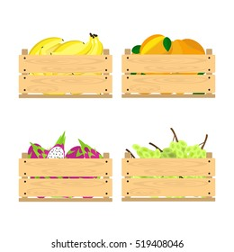 Vector crate with fresh fruits. Natural, healthy food concept. Organic fruits from the farm collected in the wooden box. Flat design style.