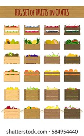 Vector crates with fresh fruits. Natural, healthy food and transportation design concept. Organic fruits and vegetables from the farm collected in the wooden box. Flat design style.