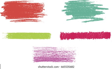 vector crayon stroke set. vector chalk texture