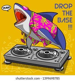 vector crazy cool dj shark cartoon illustration comics style t shirt print graphic design